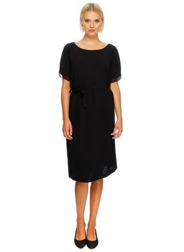 Fabrika Kısa Kollu Midi Elbise  Siyah